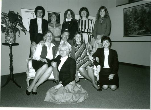 1973 Computer Science Conference Committee. One man surrounded by 9 women.